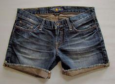 "Lucky Jeans 2 26 Riley Boyfriend Shorts Cut Offs 5"" Fray Cuff Denim Dark Dirty  #LuckyBrand #Denim"