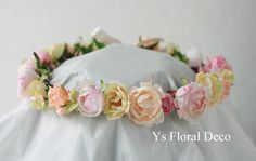 hk00277 シュガートーンの淡い色合いの花冠&ブーケ ys floral deco