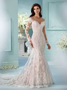 Tulle over satin fit and flare cage dress with hand-beaded Alencon lace appliques, illusion and lace long sleeves, illusion bateau neckline