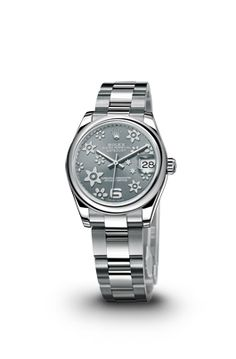 ROLEX DATEJUST LADY 31 WATCH IN STEEL - ROLEX Luxury Watches  DATEJUST LADY 31 ADD TO MY SELECTION CASEOyster, 31 mm, steel MOVEMENTMechanical, self-winding DIALDark rhodium, raised floral motif BRACELETOyster REFERENCE178240