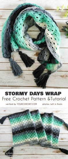 Stormy Day Wrap Free Crochet Pattern See other ideas and pictures from the category menu…. Poncho Knitting Patterns, Shawl Patterns, Crochet Poncho, Crochet Beanie, Love Crochet, Crochet Scarves, Beautiful Crochet, Crochet Stitches, Crochet Patterns