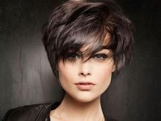 very short bob hairstyle with bangs