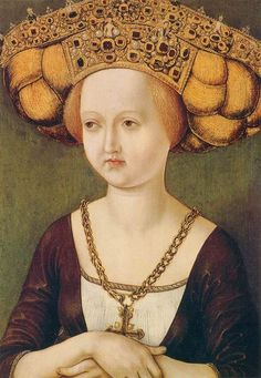 Portrait of Kunigunde of Austria by unknown master, ca 1485 Austria, Fundación Colección Thyssen-Bornemisza  There's little naked people on her headpiece.