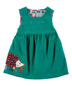 Look what I found on #zulily! Turquoise Hedgehog Pinafore Dress - Infant, Toddler & Girls #zulilyfinds
