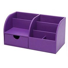 UnionBasic Multifunctional PU Leather Office Desk Organizer Business CardPenPencilMobile PhoneStationery Holder Storage Box Purple * Be sure to check out this awesome product.