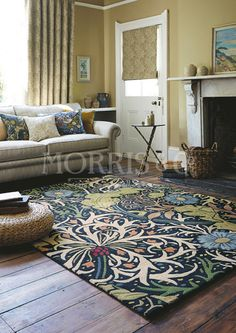 This William Morris Seaweed rug was inspired by the popular Seaweed design from the Morris & Co archive of the work of century designer, artist, writer and socialist, William Morris. The seaweed design dates back to 1901 and involves a free flow Arts And Crafts Interiors, Arts And Crafts House, Art And Craft Design, Design Crafts, Room Rugs, Rugs In Living Room, Area Rugs, Fun Craft, Cosy Home