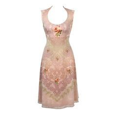 Michal Negrin A-Line Pink Dress Flower Print Lace Trim in Clothing 685e9764d