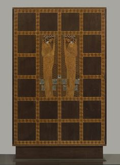 "Koloman Moser, Intarsierter Schrank aus dem Schlafzimmer der Wohnung Eisler von Terramare, 1903.     Koloman Moser was the co-founder along with Josef Hoffman of the Wiener Werkstätte (1903) which was influenced by the Arts and Crafts principles of the ""unity of the arts"" and the hand-made."