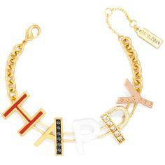 BaubleBar Happy Bracelet ($18) ❤ liked on Polyvore featuring jewelry, bracelets, stacked bangles, baublebar jewelry, baublebar and stackers jewelry Jewelry Bracelets, Bangles, Initial Bracelet, Initials, Happy, Polyvore, Gold, Bracelets, Ser Feliz