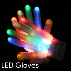 Free Shipping 2pcs(1pair)7 Modes Color Changing LED Glove LED Finger Light Gloves for Party Supplies $11.39