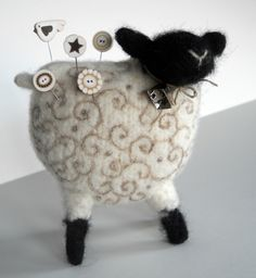 That's Woolly Something - a woolly sheep pin cushion