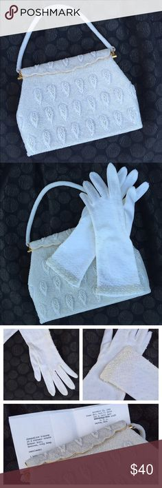 """Vintage Beaded Bag w/ Gloves Amazing fully breaded vintage pearl bag. Lined with 2 interior pockets and gold color frame. The original buyer was from Ohio, 1969. Come with the gloves with white bead polka dot pattern. One small stain in the corner of the inside pocket (see last picture). The gloves is one size fit most, 100% Nylon, stretch. Approximate purse size: 8""""✖️6""""✖️1.5"""" Accessories"""
