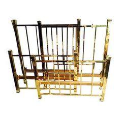 Vintage Hollywood Regency Twin Brass Beds - Pair