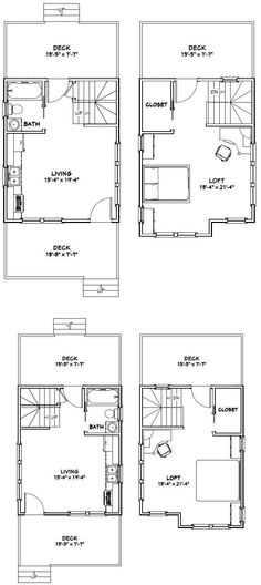 16x28 1 bedroom 1 bath tiny houses 448 sq for 16x20 floor plans