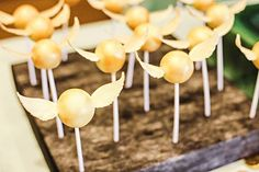 Golden Snitch Cake Pops from a Harry Potter Birthday Party via Kara's Party Ideas   KarasPartyIdeas.com   The Place for All Things Party! (56)