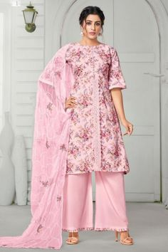 Look elegant when wearing this rose pink cotton trouser suit which will certainly make you rule to the party. This round neck and 3/4th sleeves party wear attire is prettified with lace work along with cotton palazzo pant in rose pink color and rose pink chiffon dupatta. This trouser suit can be customised up to maximum size 44. #Cotton #Trousersuit #Malaysia #Andaazfashion