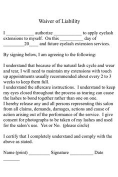 A simple eyelash extension consent form for your use.. #spa #salon #beauty:
