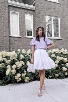 Summer outfit inspiration with millienial purple - Pastel purple top and white skirt with mint moto jacket from Ann Taylor White Skirt Outfits, Purple Outfits, White Skirts, Fall Outfits, Summer Outfits, Cute Outfits, Street Chic, Street Style, Summer Day Dresses