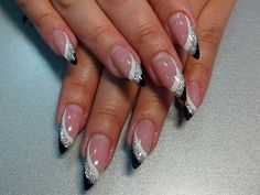 Love stone details - Today Pin - french tip nails - Gorgeous Nails, Love Nails, Fun Nails, Pretty Nails, French Nail Designs, Nail Art Designs, Pointed Nail Designs, French Nails, Pin On