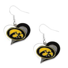 Iowa Hawkeyes Women's Swirl Heart Earrings