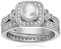 Platinum Plated Sterling Silver Cubic Zirconia Freshwater Cultured Pearl Antique Two Piece Set Ring, Size 8 ** Find out more about the great product at the image link.