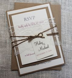 Rustic Wedding Invitation, Lace Wedding Invitation, Vintage wedding Invitation Suite Deposit