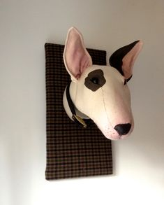 Fabric Bull Terrier trophy. Textile taxidermy dog head.