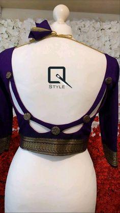 New Saree Blouse Designs, Blouse Designs High Neck, Blouse Designs Catalogue, Simple Blouse Designs, Stylish Blouse Design, Diy Blouse, Blouse Neck, Traditional Blouse Designs, Designer Blouse Patterns