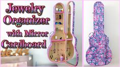 DIY ROOM DECOR - jewelry ORGANIZER cabinet with mirror - GUITAR CASE - I...