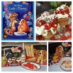 Disney Lady and the Tramp Dinner and a Movie Party Night. We had Tony's spaghetti and turkey meatballs, bread sticks and salad. Watermelon for Mrs. Darling. White grape juice for the children and red wine for adults. For dessert, we shared spaghetti and meatball cupcakes (buttercream icing to look like pasta, Lindor chocolate truffles as meatballs, strawberry jam as the spaghetti sauce and white chocolate for grated cheese.)