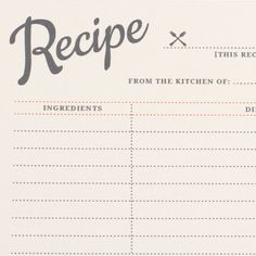 Printable vintage recipe cards that you can type right on! You type them and print them on card stock. It's a super easy template! What a great idea to share recipes with family and friends.