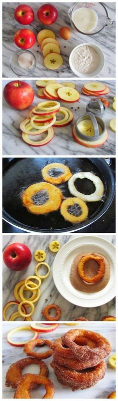 Cinnamon apple rings - Pampered Chef Apple tools make quick work! - A quick and delicious snack of sliced apple rings dipped in a yogurt batter, fried, and topped with cinnamon-sugar. Just Desserts, Delicious Desserts, Dessert Recipes, Yummy Food, Apple Desserts, Dessert Food, Apple Recipes, Fall Recipes, Sweet Recipes