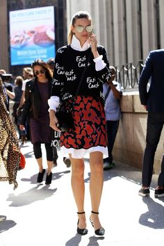 On the street at New York Fashion Week. Photo: Angela Datre/Fashionista.