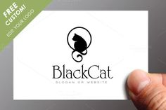 Black Cat Logo Template by Maioriz Shop on Creative Market