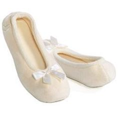 Isotoner Bedroom Slippers Las Terry Ballet L 11 12 Navy Ivory