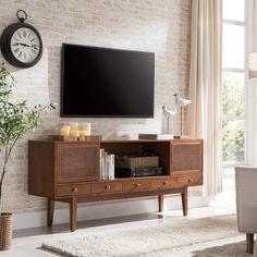 Holly & Martin Simms Midcentury Modern Media Console, for TVs up to 68 Tv Console Modern, Midcentury Modern Tv Stand, Modern Tv Stands, Vintage Stereo Console, Cool Tv Stands, All Modern, Living Room Furniture, Living Room Decor, Living Spaces