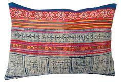 """Pillow w/ Intricate Batik Textile  -  TREASURE TROVE  -  Yao Hill Tribe  -  22""""L x 16""""W  -  OneKingsLane.com   -  ($370.00)  $245.00"""