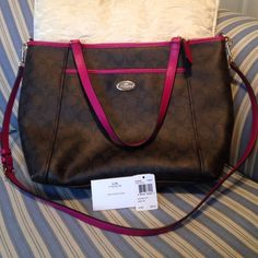 ❤️Coach Signature Pocket Tote Brown/Cranberry Tote, handles plus detachable strap, carried to work for less than a week, but changed my mind Two bottom corners have a white mark. Otherwise, in excellent condition. Coach Bags Totes