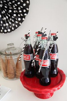 mickey mouse birthday party ideas Classic Mickey Mouse Birthday Party Cola bottles from a Classic Mickey Mouse Birthday Party on Mickey Mouse Birthday Theme, Mickey 1st Birthdays, Theme Mickey, First Birthday Party Themes, Boy Birthday Parties, Elmo Birthday, Dinosaur Birthday, Birthday Ideas, Minnie Mouse Party Decorations