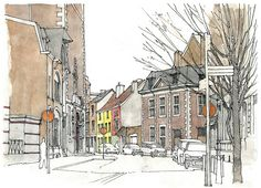 Liège, rue Fosse-aux-Raines -- I want this in my livingroom! Best Watercolor Brushes, Watercolor Journal, Watercolor Paintings, Cool Sketches, Drawing Sketches, Drawings, Sketchbook Inspiration, Art Sketchbook, Pen And Wash
