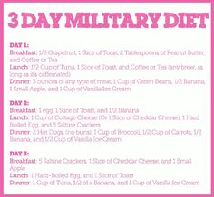 Military diet.... thoughts anyone? not sure if this really sounds like a good/healthy idea