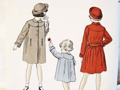 Vogue 1940s Girls Coat Pattern size 10 UNCUT Coat with Peter Pan Collar by PatternsFromThePast