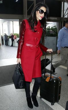 Amal Clooney in Versace coat in LAX