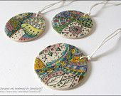 Zentangle doodle colorful hand painted pendant