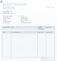 Electrician Quote Template Invoice Word Work Sample