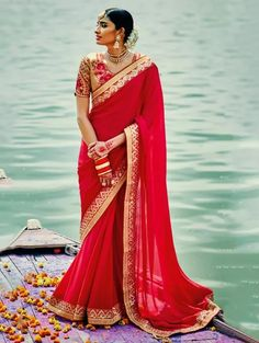 Red Silk Georgette Saree with Lace Work