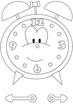 Clock Coloring Page Best Of Clock Coloring Pages Printable Kindergarten Printables Inspirational. Clock Worksheets, Preschool Worksheets, Preschool Activities, Make A Clock, Clock For Kids, Kids Clocks, Coloring Pages For Kids, Coloring Sheets, Coloring Books