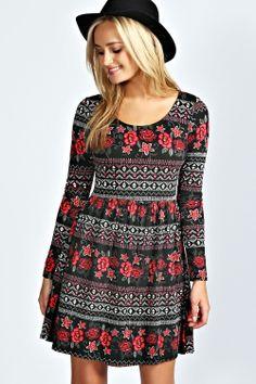 Sacha Printed Long Sleeve Skater Dress