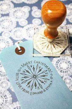 Personalised Christmas Midcentury Snowflake stamp. A Bloomfield & Rolfe Christmas — Bloomfield & Rolfe #christmasstamp #christmasideas #midcenturychristmas #midcentury #rubbberstamp