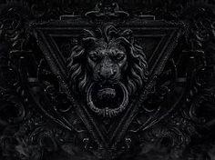 Dark Gothic Lion Door Knocker Wallpaper